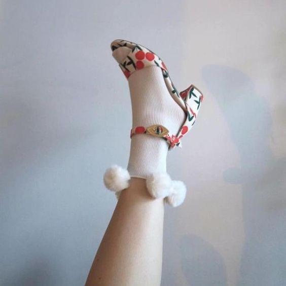 Swedish Stockings Ebba Pom Pom Socks
