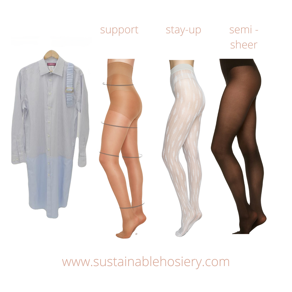 Sustainable Hosiery Shirt Dress Support Stay-up Semi-Sheer Stockings