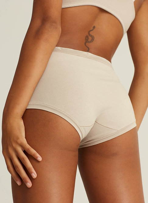 Sustainable Hosiery Woron Organic Cotton High-Rise Brief Nude Australia NZ