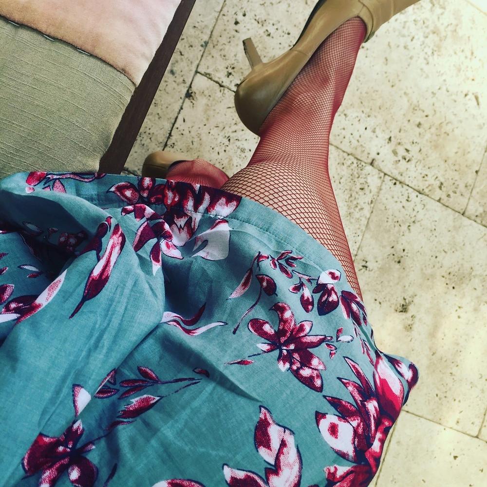 Swedish Stockings Vera Net Tights Wine and Violet Fish Isabella Dress
