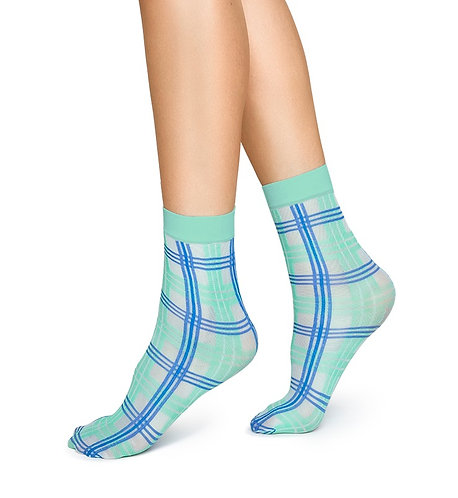 Sustainable Hosiery Swedish Stockings Greta Tartan Socks Blue Green Australia