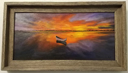 b.sallows canoe at sunset 12 x 16  395.j