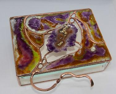 6 x 8 Fused Glass Box with Amethyst Gems