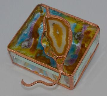4 x 4 Fused Glass Box with Agtel Gemston