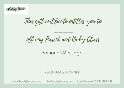 A Gift voucher for any class