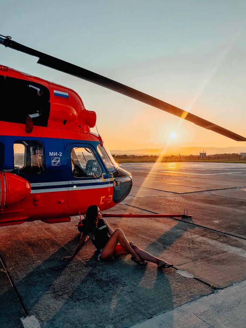 Прогулка на вертолете на закате Владивосток