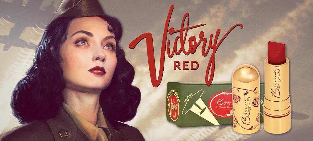 """Реклама помады """"Victory Red"""" во время второй мировой войны"""