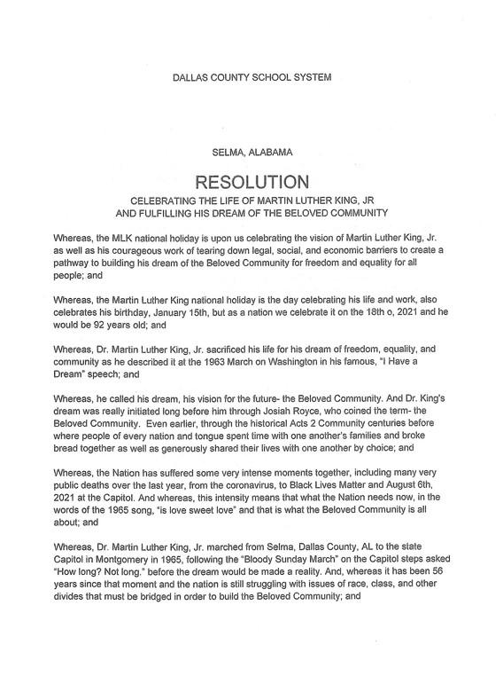 Dallas County Schools Resolution 1 of 2