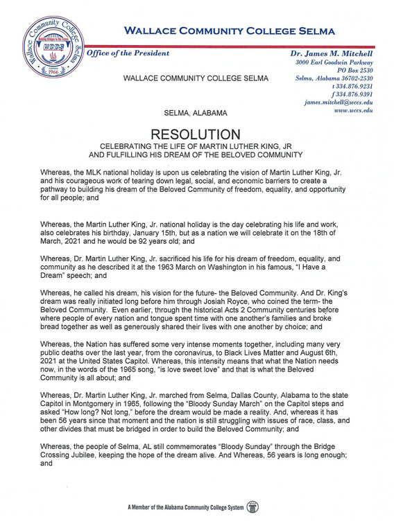 Wallace Community College Selma Resolution 1 of 2