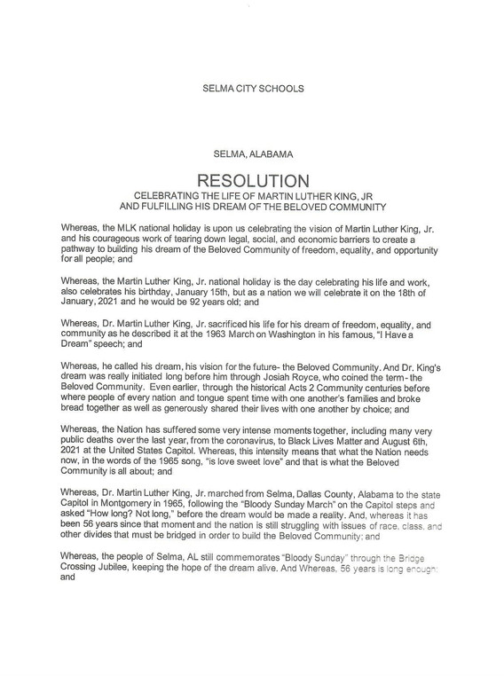 Selma City Schools Resolution 1 of 2