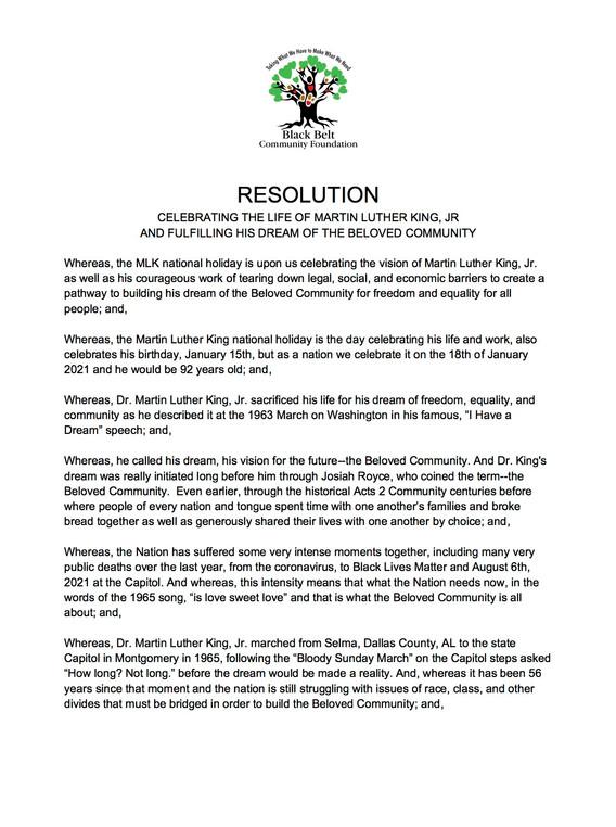Black Belt Community Foundation Resolution 1 of 2