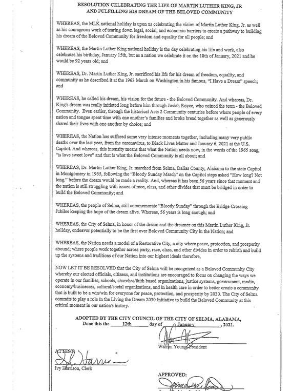 Selma City Council Resolution