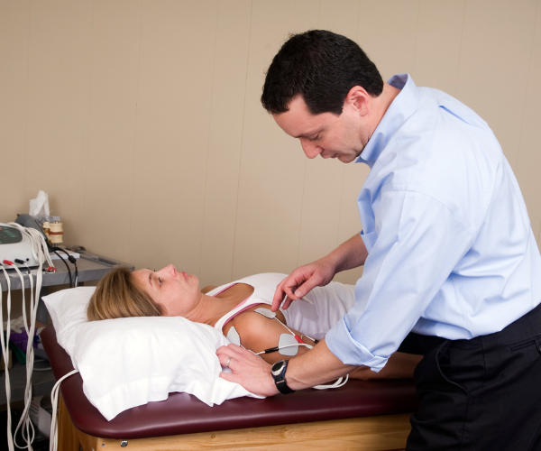 Russian stimulation (or FES) is used to forcefully contract the muscles and to restore muscle strength.