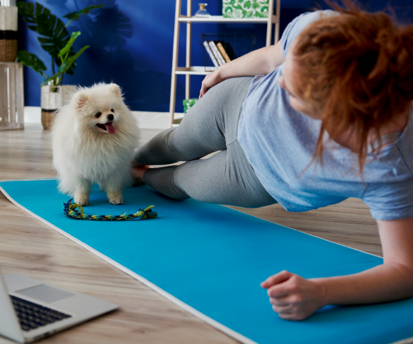Pets make great workout buddies.