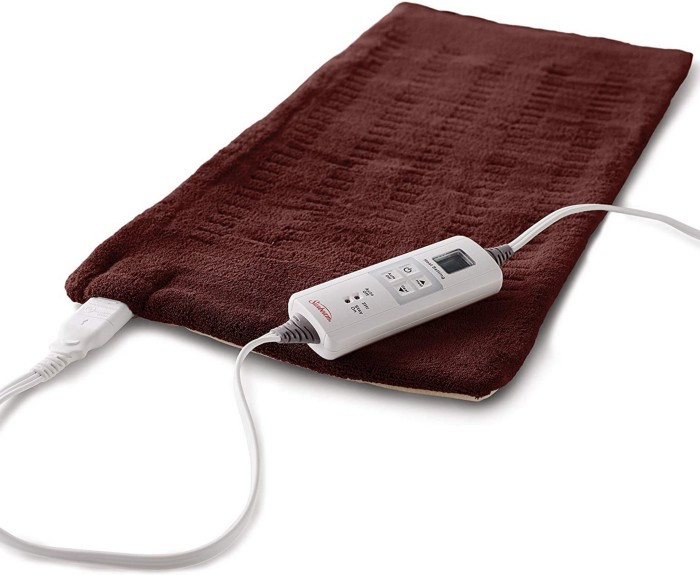 The sunbeam heating pad from Amazon is great for helping reduce low back pain.