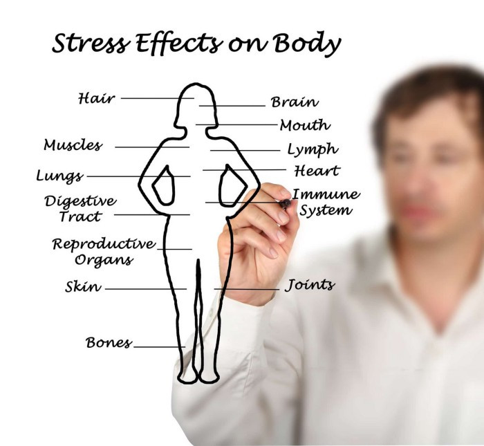 Some of the effects of stress on the body can include aches and pains and sore muscles, such as low back pain.