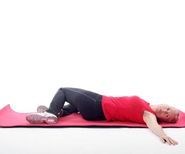 The trunk rotation stretch is an excellent stretch for chronic low back pain.