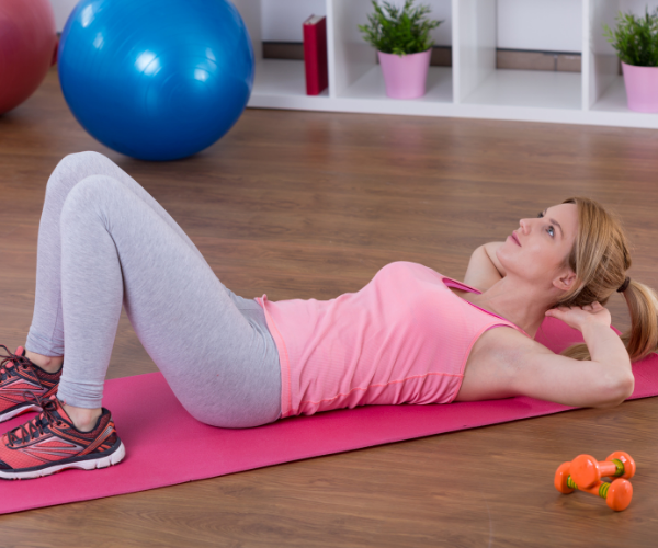 Pelvic tilts work with your abdominal muscles and help to restore mobility to the spine easing low back pain.