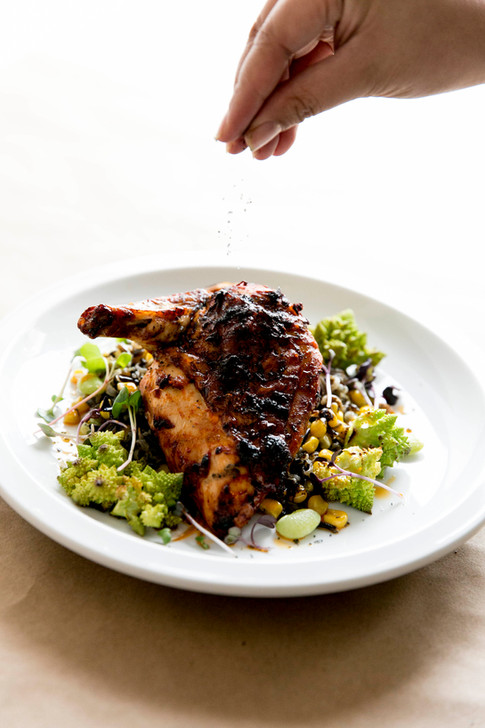 harissa chicken with romanesco and lima bean pilaf