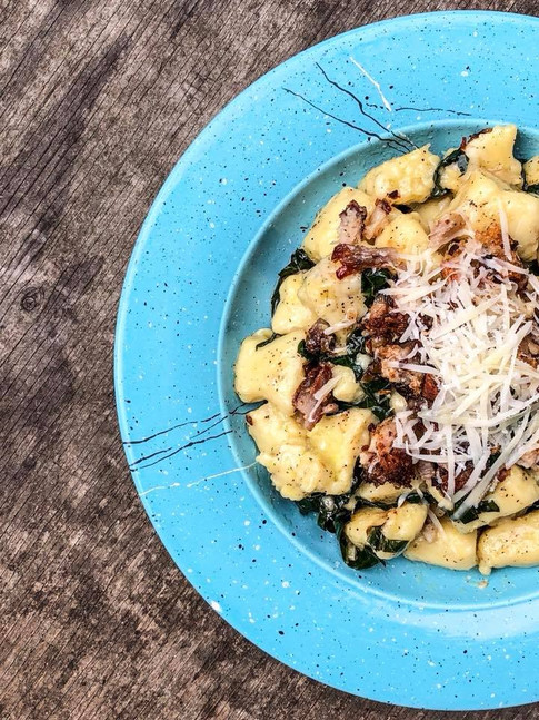 homemade gnocchi, sauteed kale, house cured bacon