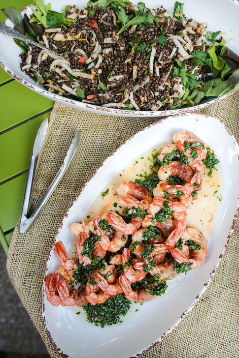lentil salad with fennel and apples, prawns wrapped in prosciutto with salsa verde