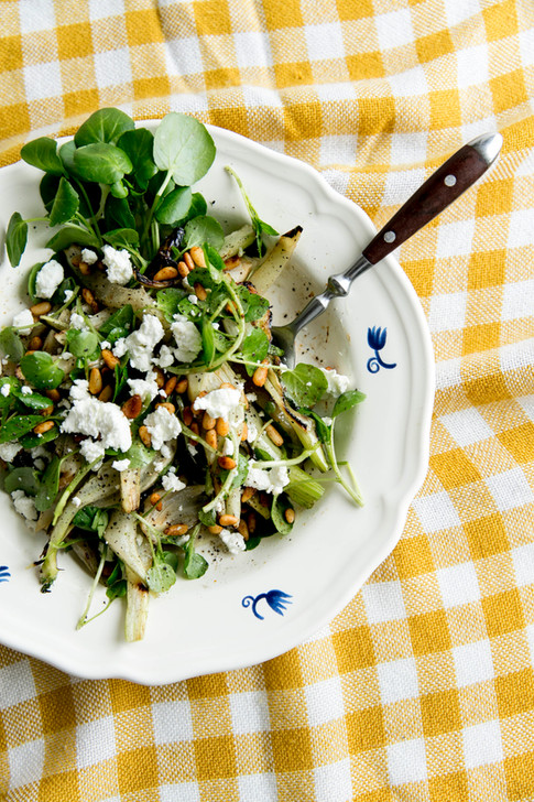 watercress salad with goat cheese, pine nuts