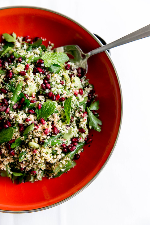 tabbouleh salad with cauliflower, pomegranates, mint, preserved lemon dressing