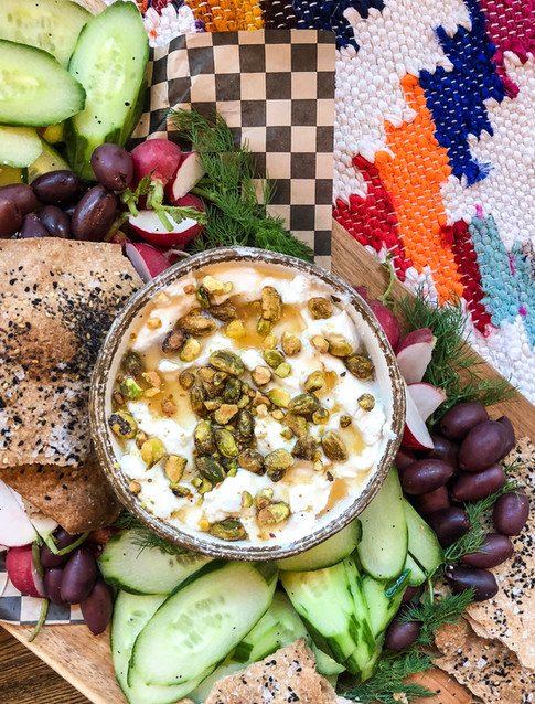 homemade labneh with honey, pistachios