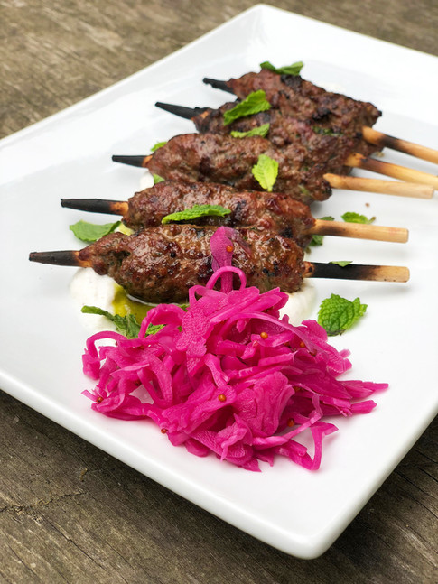 lamb kofta with labneh and pickled red cabbage