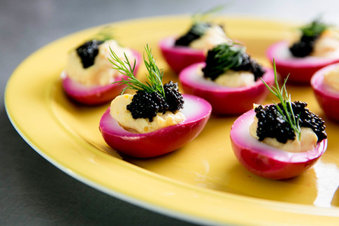 beet deviled eggs with caviar