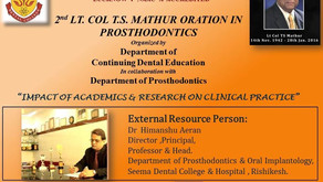 2nd Col. T.S. Mathur Oration 8TH Sep 2020 Department of Prosthodontics, Crown & Bridge