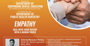 Empathy: Deal with Your Patient with a Human Touch on 30th May, 2020 (Saturday) from 3.00 pm