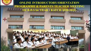 Online Introductory/Orientation Programme & Parents Teacher Meeting