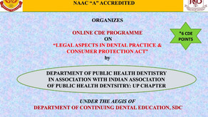 Online CDE Programme on Legal Aspects in Dental Practice & Consumer Protection Act - 10th Nov, 2020