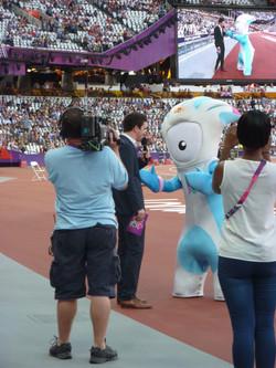 At the Olympic Stadium