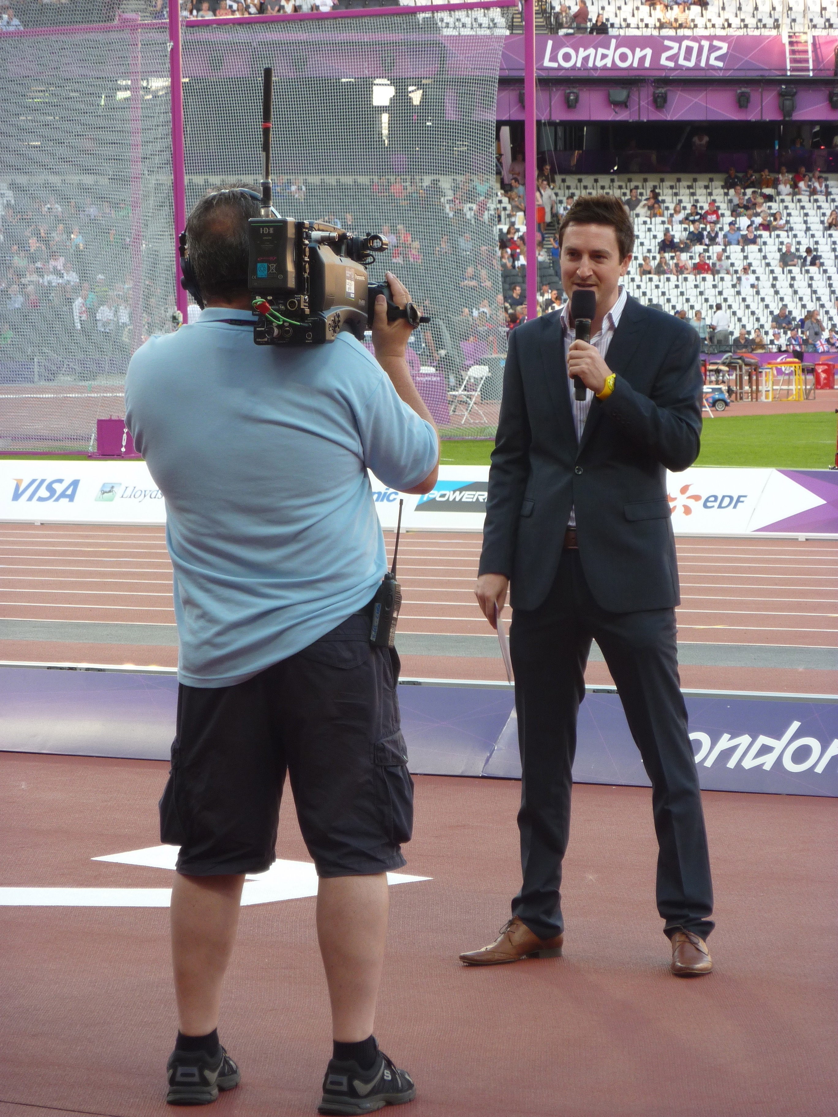 Presenting trackside at the Olympic Stadium