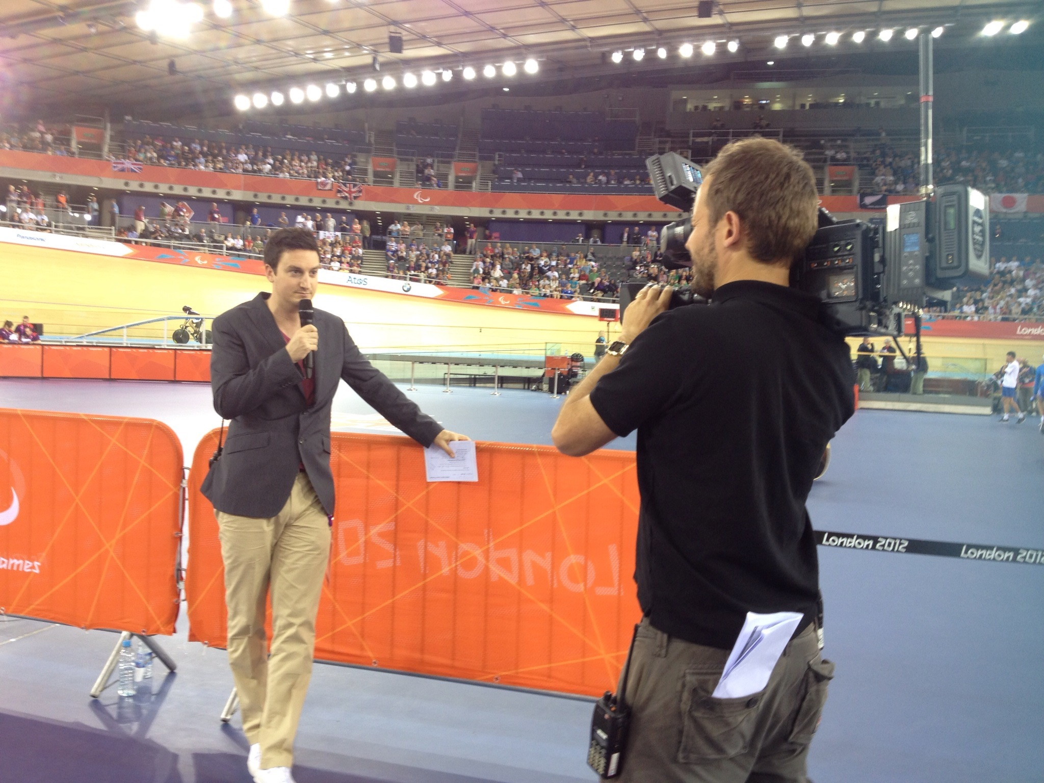 Presenting at the London 2012 Velodrome