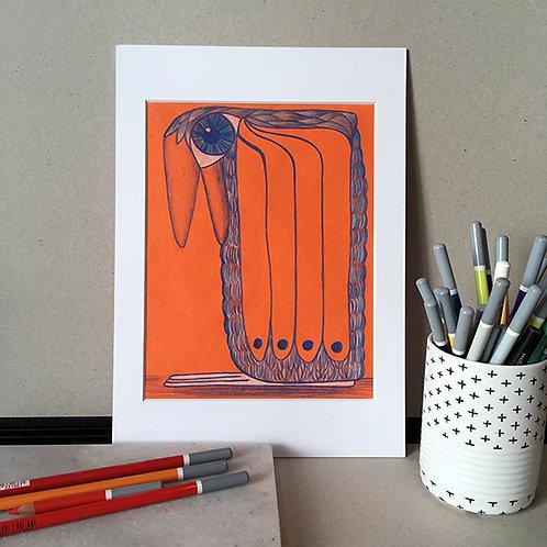 Oiso bleu fond orange