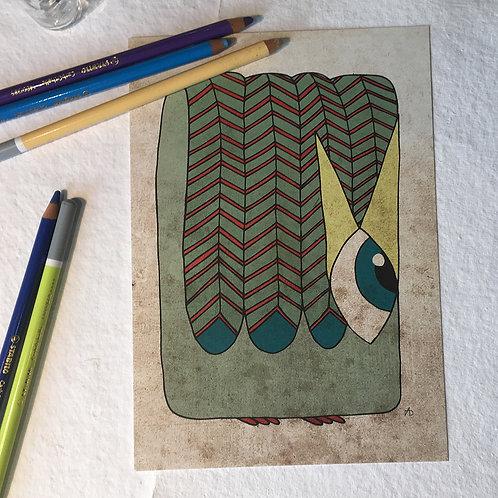 Oiseau vert d'eau