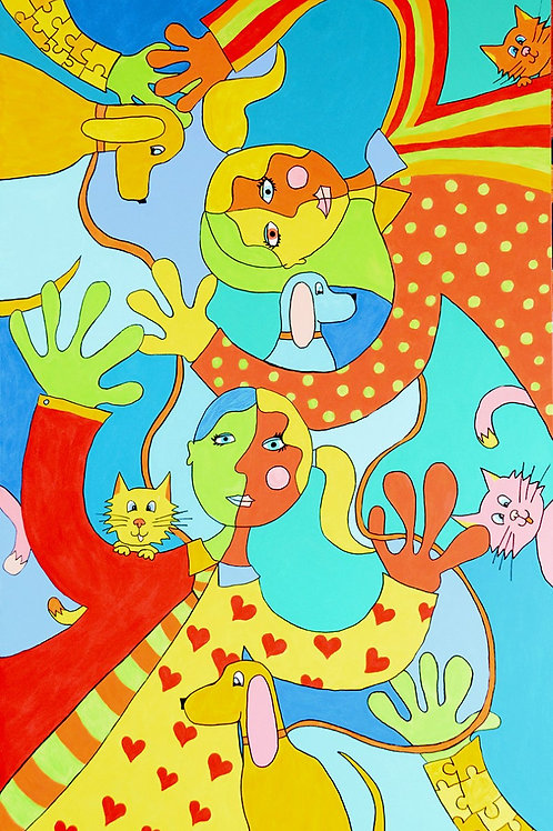 Four Cats and Dogs -SOLD