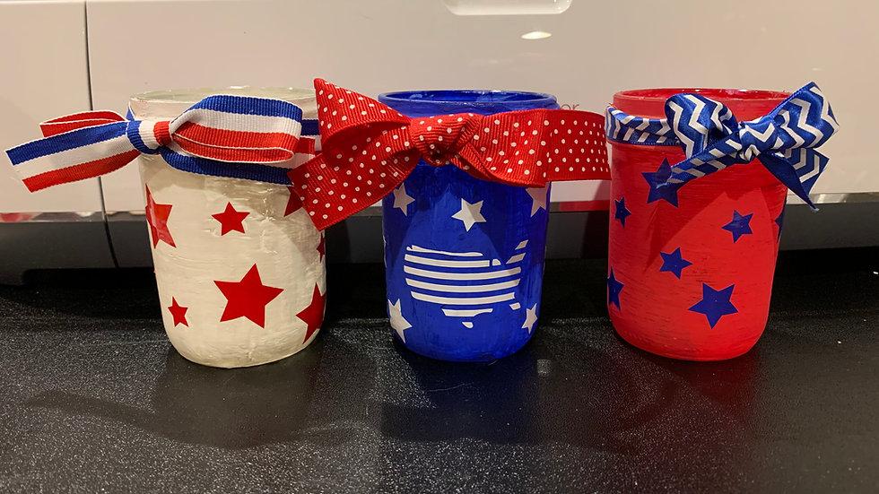 Small Patriotic Glass Jar set of 3