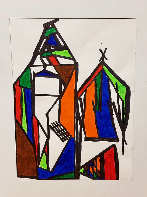 """STAINED GLASS SHELTER"" WATERCOLOR DRAWING"