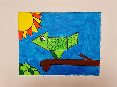 """GEOMETRIC BIRD"" WATERCOLOR DRAWING"