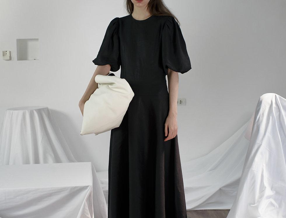 LINEN CLASSIC PUFF DRESS