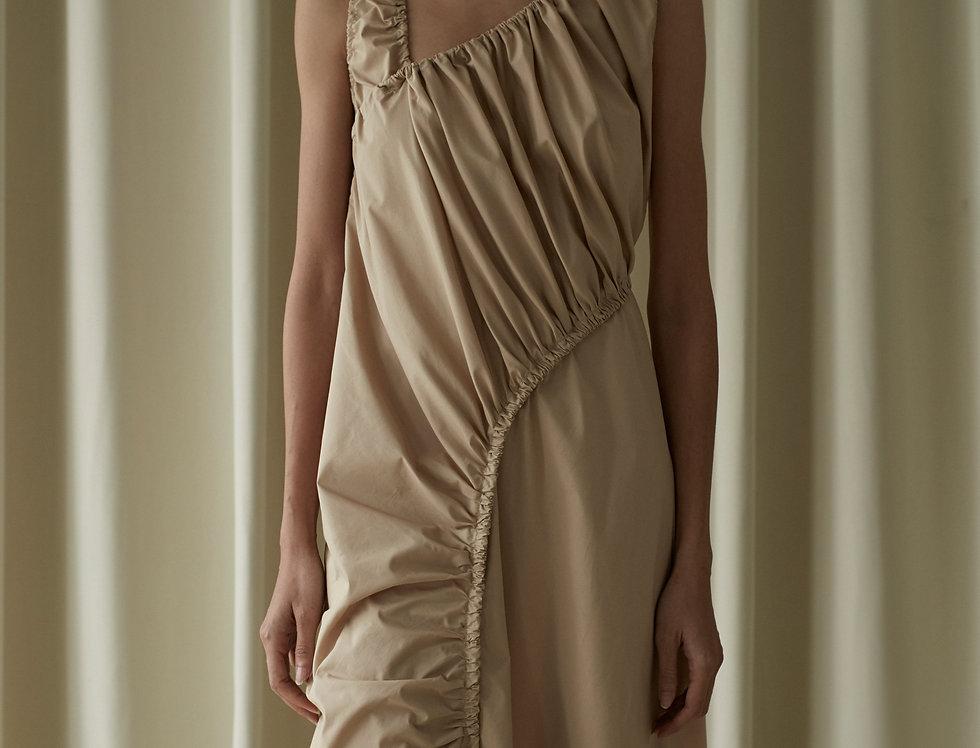 GATHERED COTTON DRESS