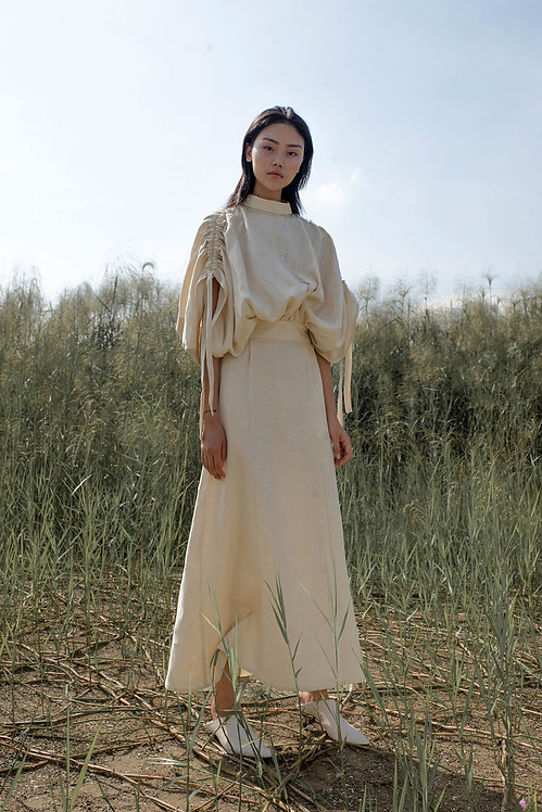 LINEN MOVING DRESS WITH BUTTON