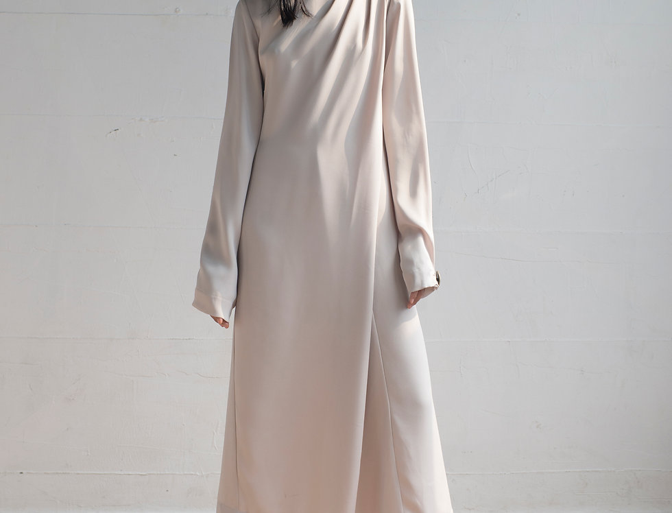 DRAPED COLLAR LONG SLEEVES DRESS