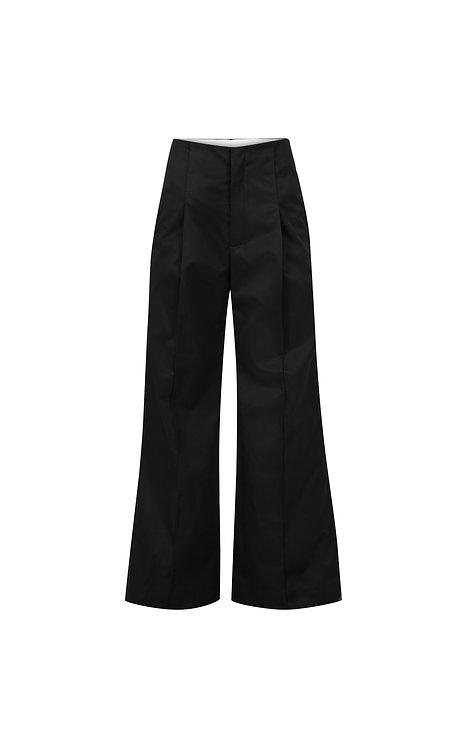 PLEATED COTTON TWILL TROUSERS