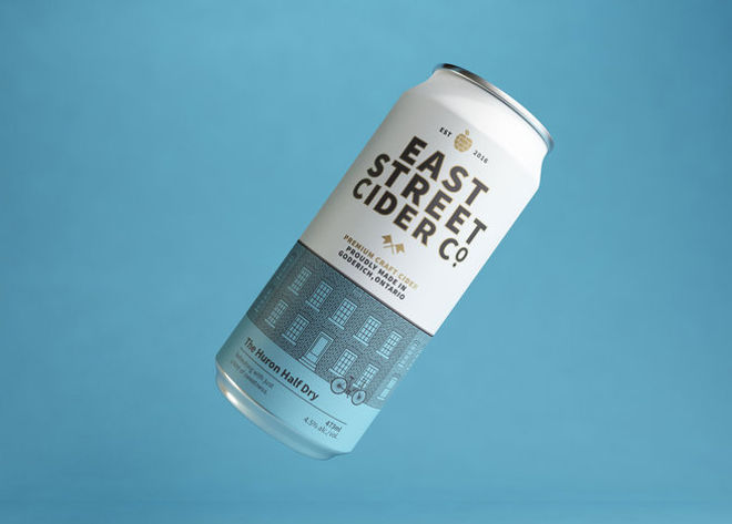 Can of East Street Cider Huron Half Dry