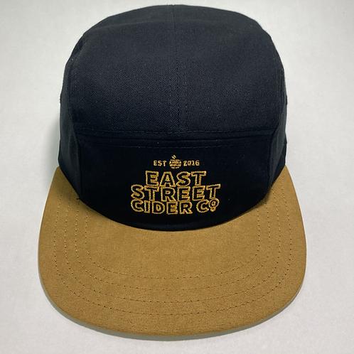 East Street 5 Panel Hat - Black/Gold Suede